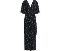 Wrap-effect Cutout Floral-print Silk-georgette Jumpsuit Navy Size 0