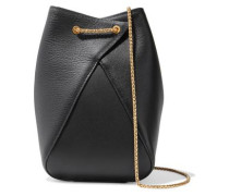 Woman Smooth And Textured-leather Bucket Bag Black