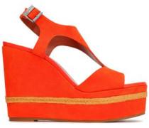 Jute-trimmed Suede Wedge Slingback Sandals Bright Orange