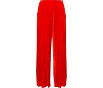 Pleated Crushed-velvet Culottes Bright Orange Size 1
