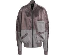 Two-tone twill-paneled satin bomber jacket