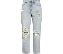 Distressed Faded High-rise Slim-leg Jeans Light Denim  4