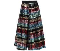 Flared Sequined Woven Skirt