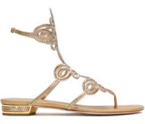 Crystal-embellished cutout metallic satin sandals