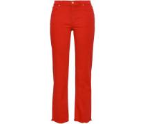Frayed High-rise Straight-leg Jeans Papaya  8