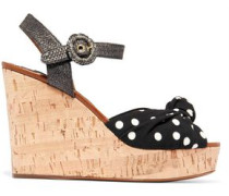 Cady And Raffia Wedge Sandals Black