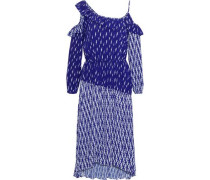 Kemila Cold-shoulder Printed Crepe De Chine Midi Dress Blue