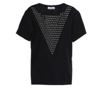 Eyelet-embellished Stretch-jersey T-shirt Black