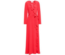 Ruffle-trimmed Silk Crepe De Chine Wrap Dress Red
