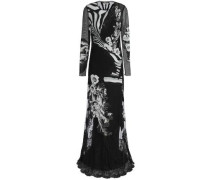 Paneled lace, point d'esprit and printed silk crepe de chine gown