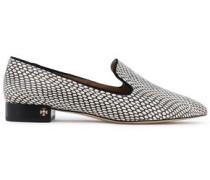 Woman Snake-effect Leather Loafers Animal Print