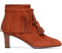 Fringe-trimmed suede ankle boots