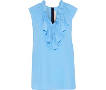 Ruffled Crepe De Chine Top Light Blue