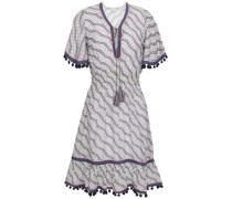 Pompom-trimmed Printed Cotton And Silk-blend Dress Off-white