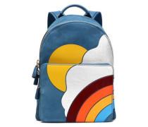 Leather-appliquéd suede backpack