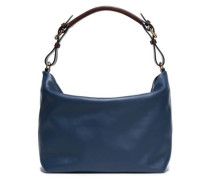 Woman Textured-leather Shoulder Bag Navy
