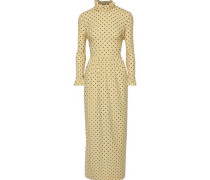 Alitha Ruffle-trimmed Printed Cotton-blend Maxi Dress Pastel Yellow