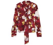 Crogan Tie-neck Floral-print Hammered-silk Blouse Brick