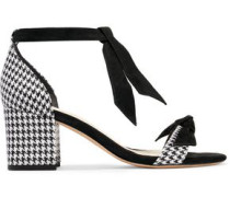 Clarita suede-trimmed houndstooth-jacquard sandals