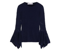 Scalloped Crochet-trimmed Ribbed Wool Sweater Midnight Blue