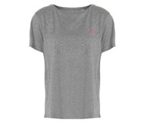Embroidered mélange cotton-jersey T-shirt
