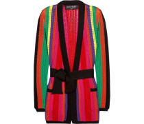 Striped open-knit blazer