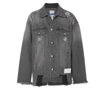 Woman Distressed Denim Jacket Gray