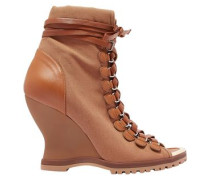 Woman River Canvas And Leather Wedge Ankle Boots Light Brown