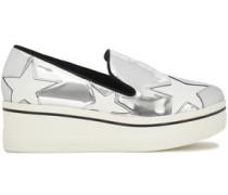 Woman Metallic Faux Patent-leather Platform Slip-on Sneakers White Gold