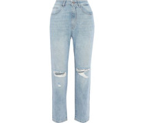 Susie Cropped Distressed High-rise Straight-leg Jeans Light Denim  7