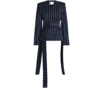 Double-breasted pinstriped wool and cotton-blend twill jacket