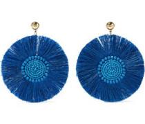 Gold-tone beaded fringed earrings