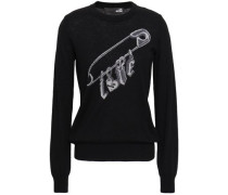 Metallic Intarsia-knit Wool-blend Sweater Black