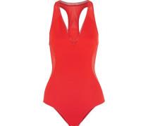 Cutout mesh-paneled swimsuit