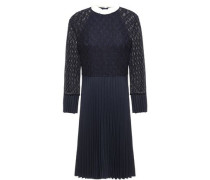 Ruffle-trimmed Pleated Twill And Lace Dress Navy