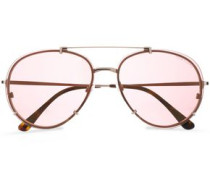 Aviator gold-tone and acetate sunglasses
