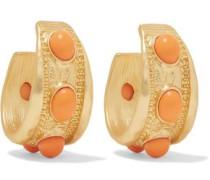 Gold-plated stone hoop earrings