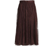 Gathered silk lace midi skirt