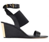 Gili Leather And Stretch-knit Wedge Sandals Black