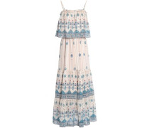 Burnout printed silk-blend chiffon maxi dress