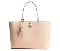 Woman Mcgraw Tassel-trimmed Logo-embellished Textured-leather Tote Sand
