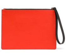 Color-block Leather Pouch Tomato Red Size --