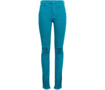 Distressed High-rise Slim-leg Jeans Turquoise  6