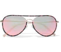 Aviator Tortoiseshell Acetate And Gold-tone Mirrored Sunglasses Peach Size --