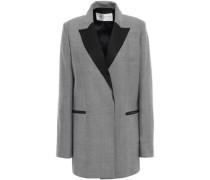 Satin-trimmed Herringbone Wool-jacquard Blazer Black
