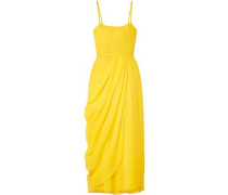 Woman Wrap-effect Silk-georgette Midi Dress Yellow