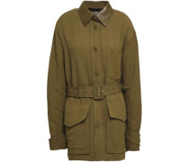 Lizard-effect Leather-trimmed Woven Jacket Army Green