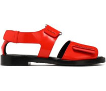 Addis Buckled Glossed-leather Sandals Red