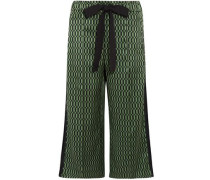 Printed Silk-satin Wide-leg Pants Green