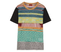 Striped metallic stretch-knit T-shirt